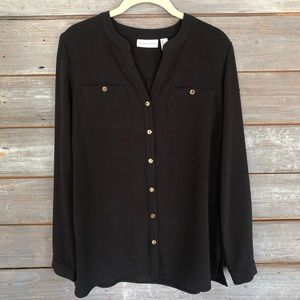 🖤NWOT Susan Graver Black Button Down Tunic